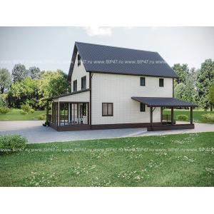 Дом из СМЛ-СИП-панелей 303 м², 10,9х7,9