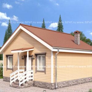 дом из сип панелей 52 м²