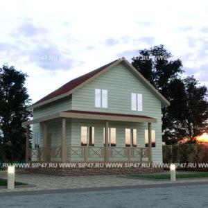 Дом из сип панелей 135,6 м², 9,4х9,1 метров