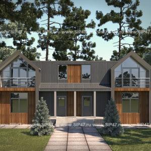 Дом из сип панелей Дуплекс 348,9 м²