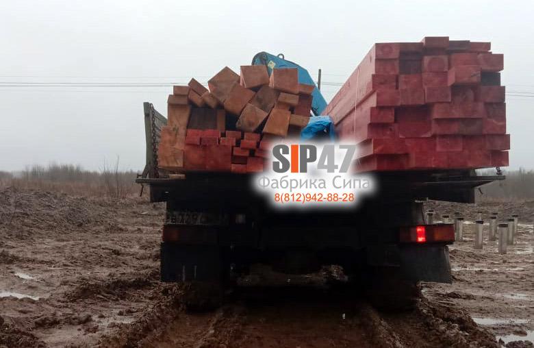 Доставка пиломатериалов на строительную площадку в деревню Шелково