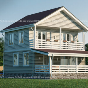 Дом из СИП-панелей с балконом