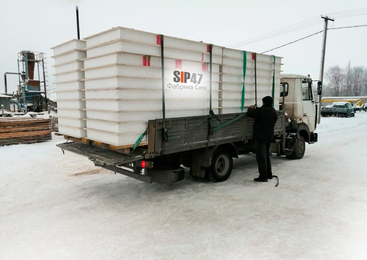 Отгрузка СИП-панелей из СМЛ в Гатчинский район посёлок Сусанино